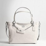 coach 14828 large leather charm tote white
