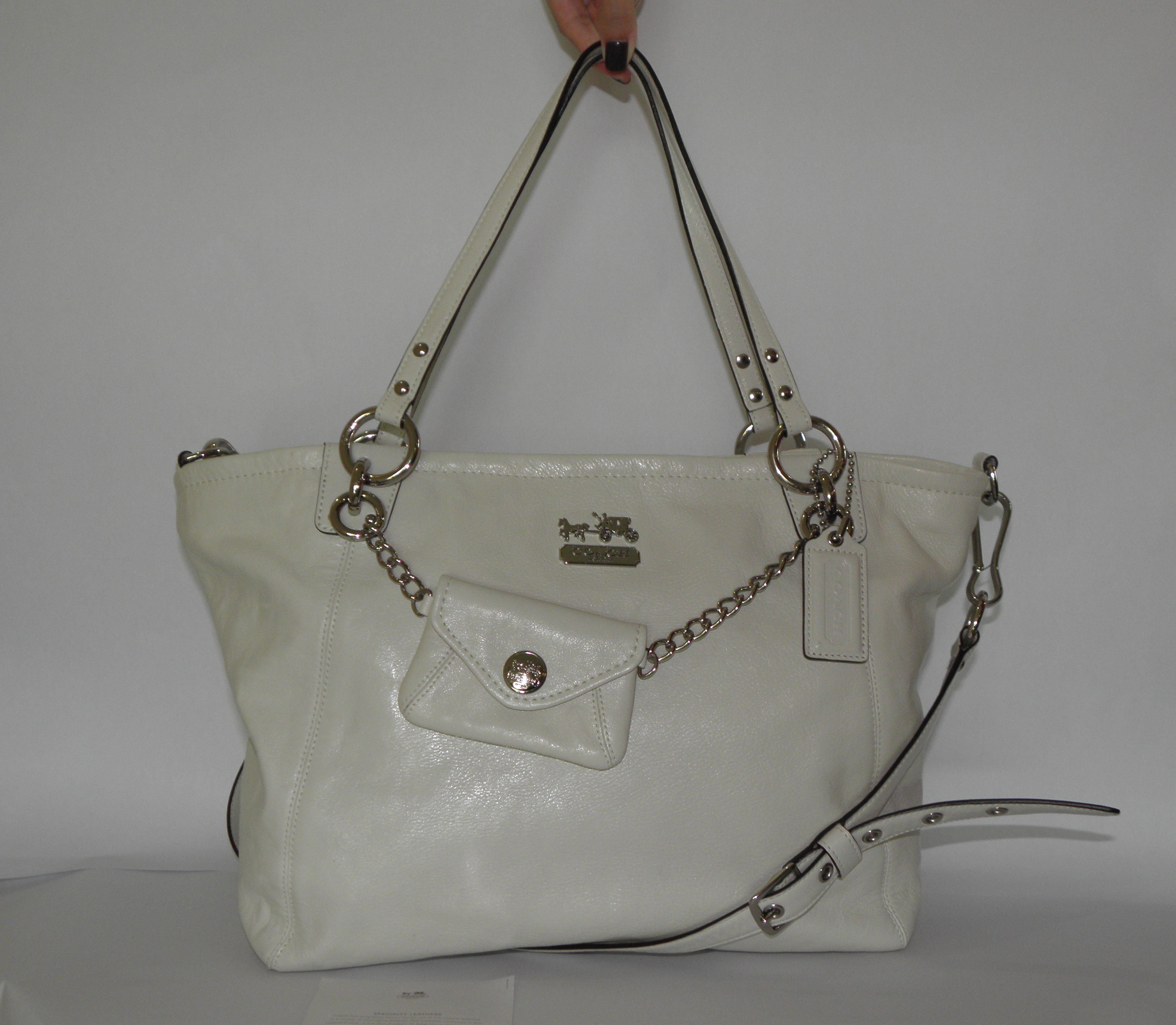BNWT Coach Leather Charm Large Tote in Parchment  14832  2960c2608a3be